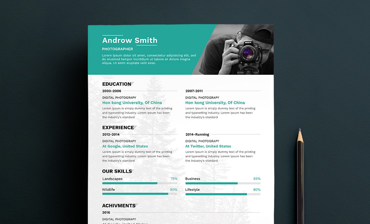 free photographer resume template. Resume Example. Resume CV Cover Letter