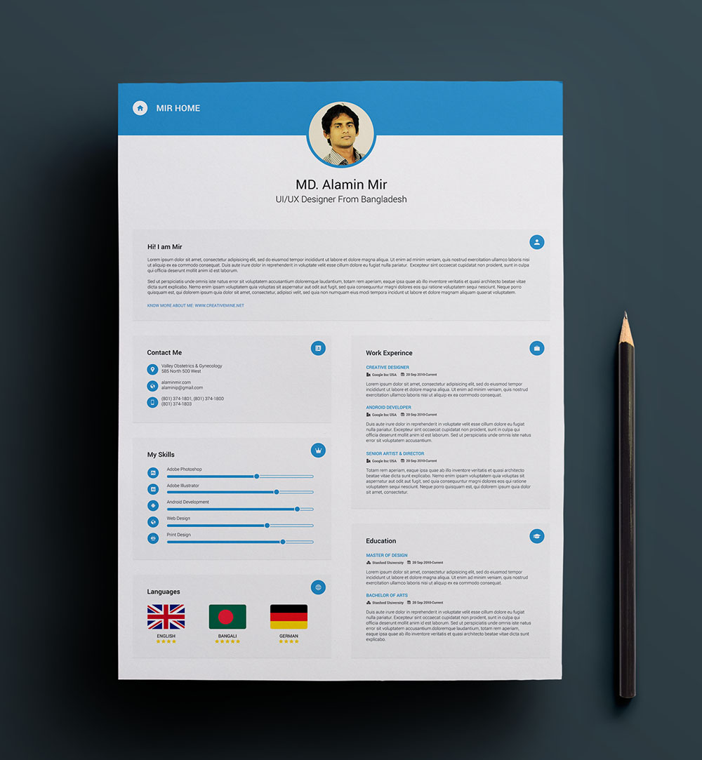 Minimal Resume Template Business Card - Free Resume Template