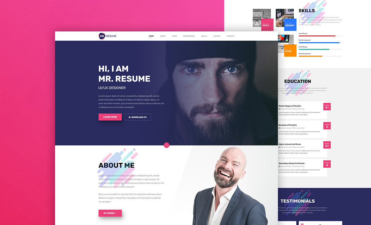 Mr resume web template free resume template for Cv website template free