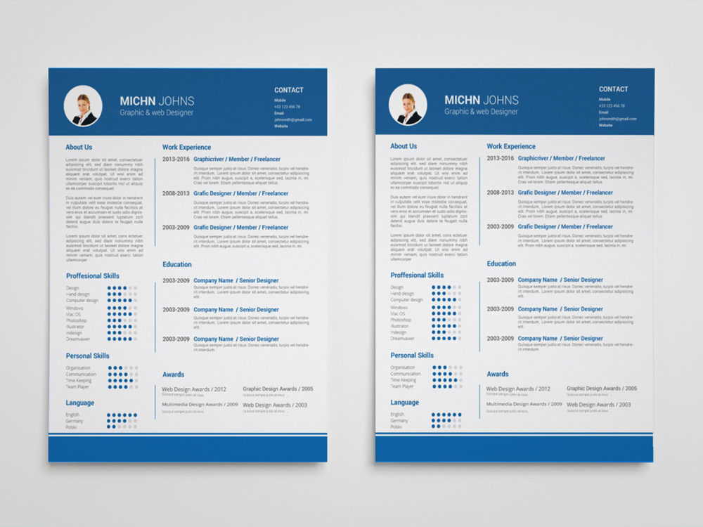 Clean blue free clean blue resume template in for Blue resume paper