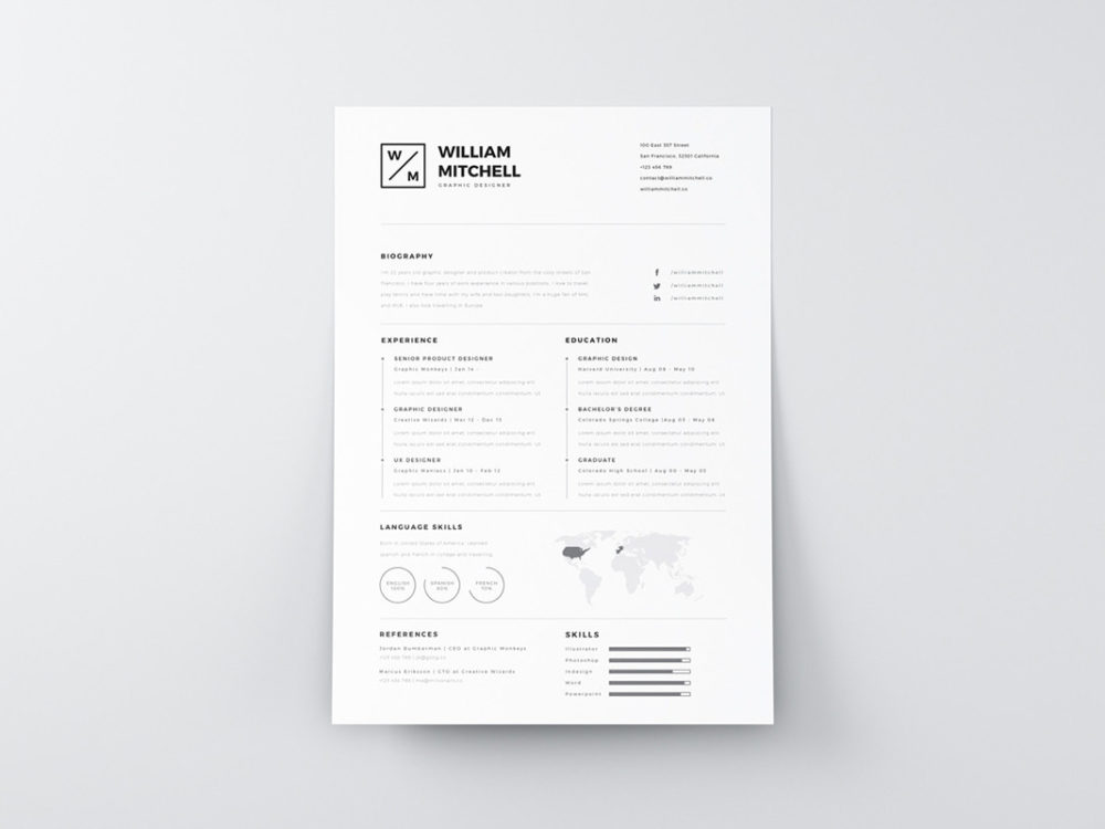 Clean Simple Resume Free Clean Simple Resume Template In Psd And