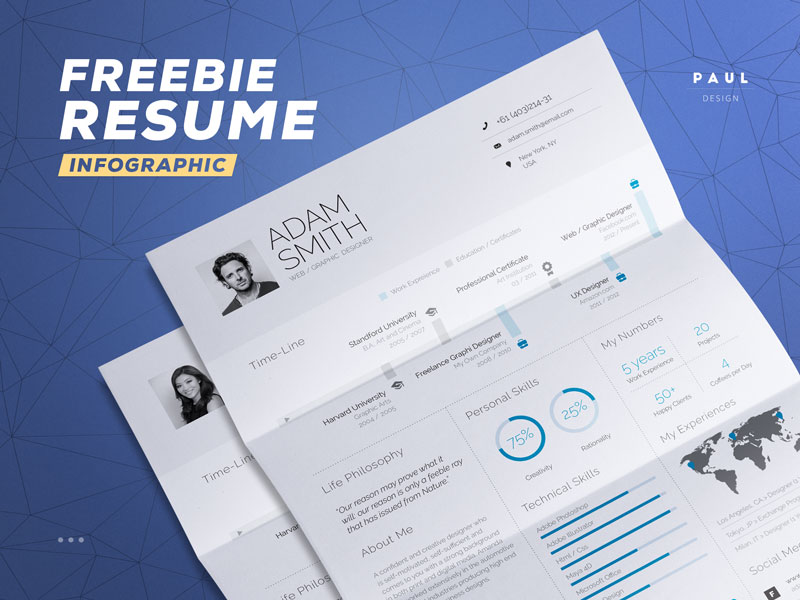 free infographic resume template in word and indesign file