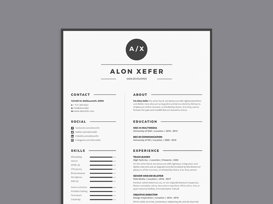 Free Modern Elegant Resume Template in Multiple Format (PSD, AI, DOC ...