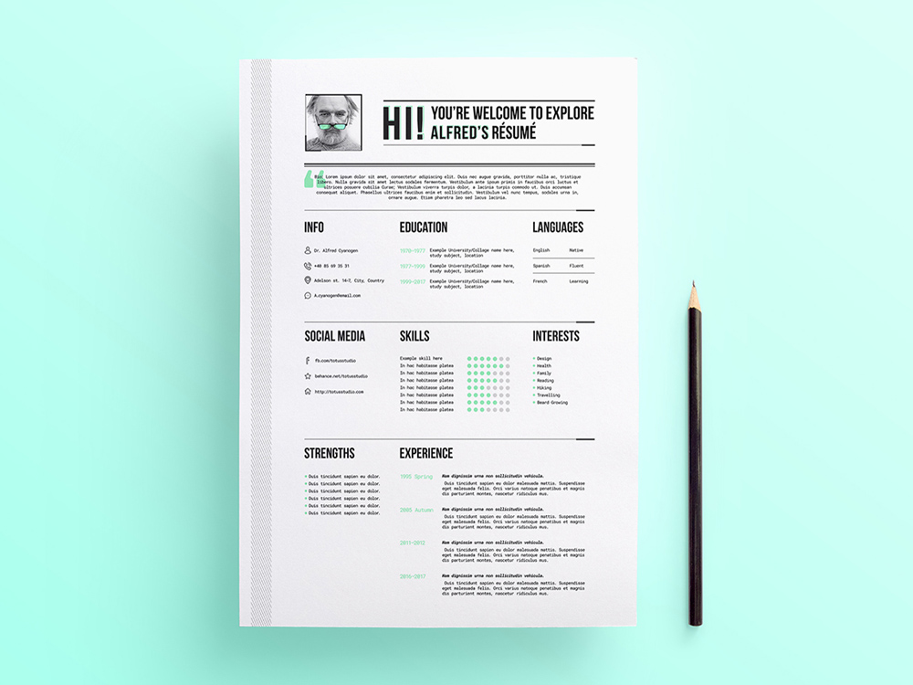 Free Professional Looking Resume Template With Stylish Design To Present  Yourself, Your Previous Work Experience, Education As Well As Your Personal  ...  Professional Looking Resume