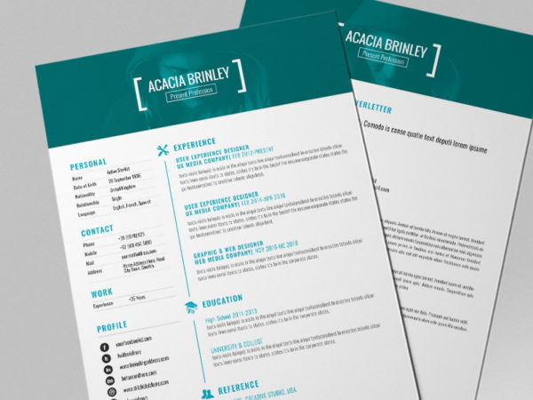 Free Personal Resume Template with Cover Letter Design