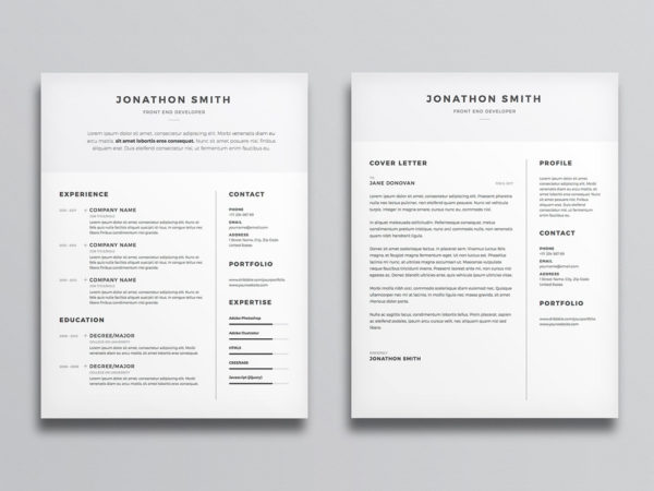 Free Clean CV and Cover Letter Template with Minimal Design