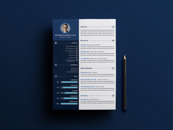 Free Creative A4 Resume Template in PSD Format