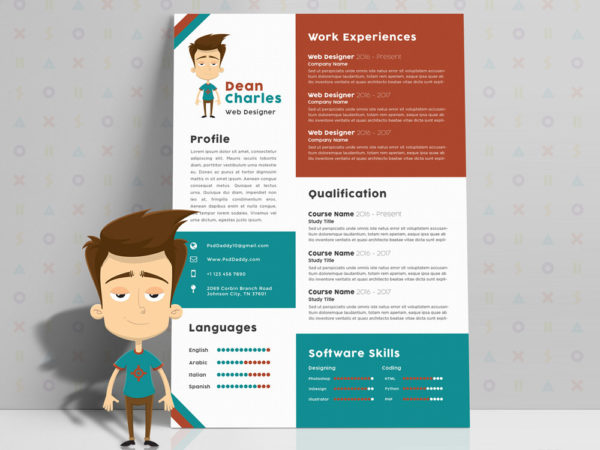 Free Creative Resume Template with Cartoon Style