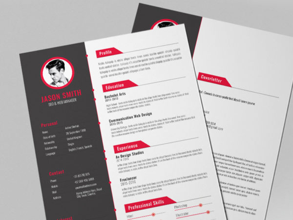 Free Creative Resume Template with Red Color Style