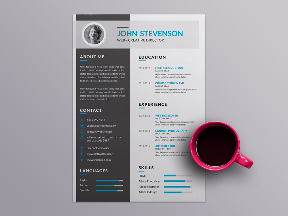 Free Vector Resume Template with Elegant Design