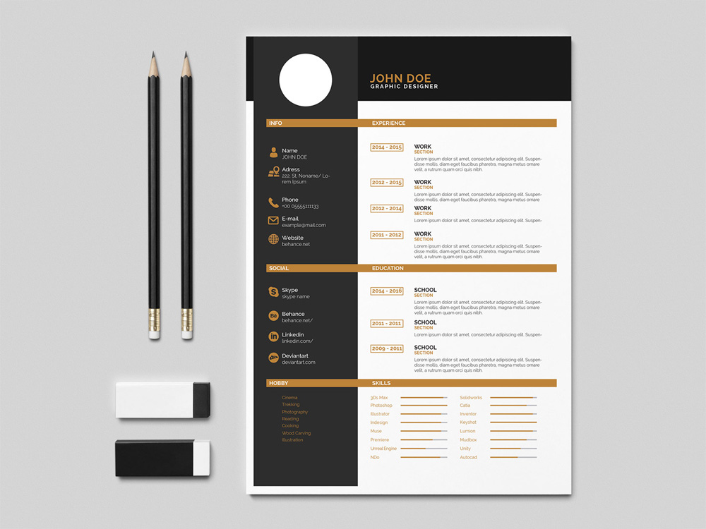 Flat Indesign Resume Template With Elegant Design