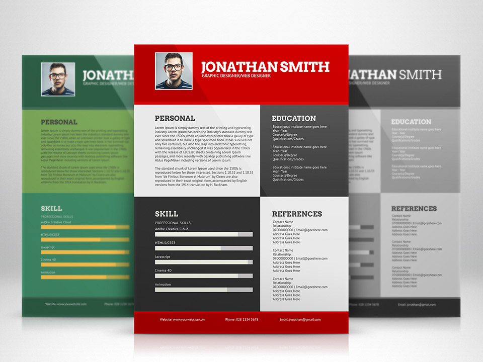 flat resume template with 3 different colors