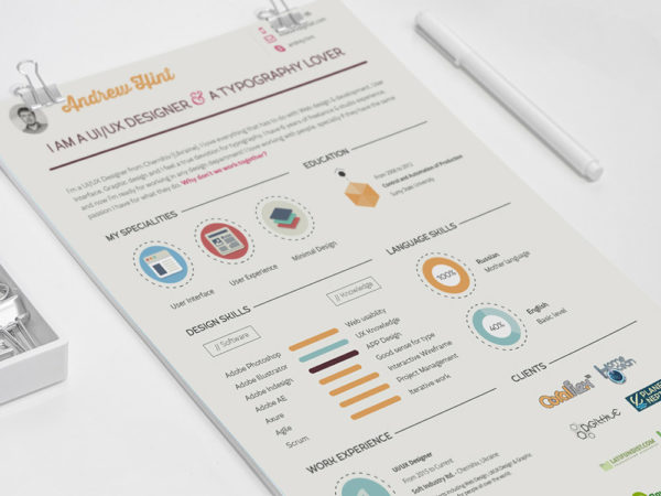 Free Flat Infographic Resume Template in PSD Format