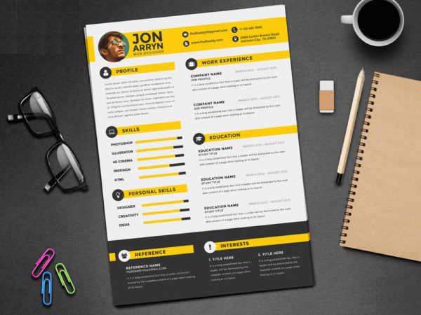 Free Flat CV Template with Stylish Design