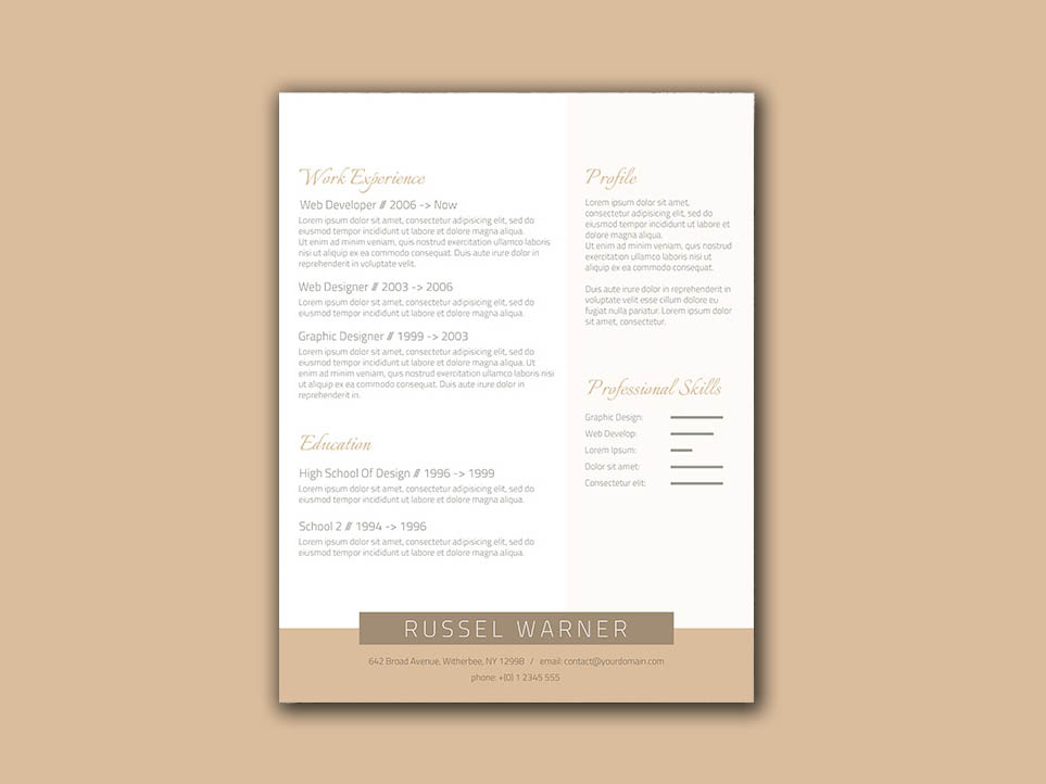 Free Elegant Resume Template with Gold Color Scheme
