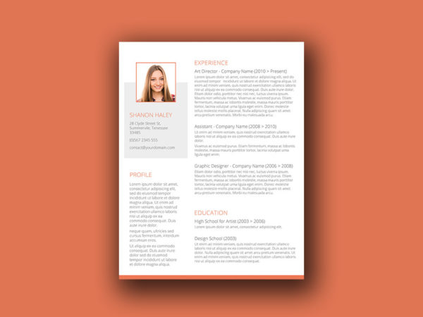 Free Orange Themed Resume Template