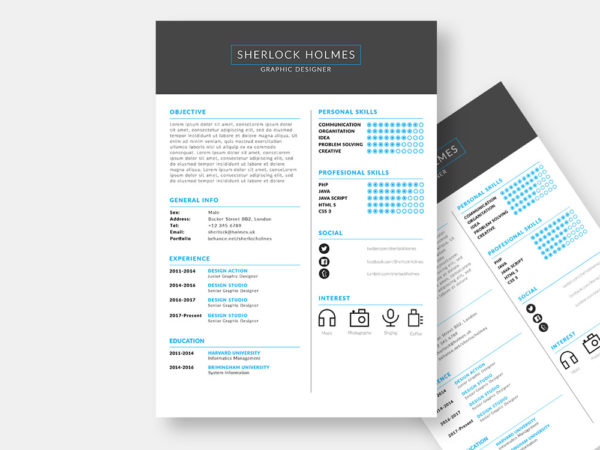 Holmes Resume - Free Fully Customizable Resume Template in PSD Format