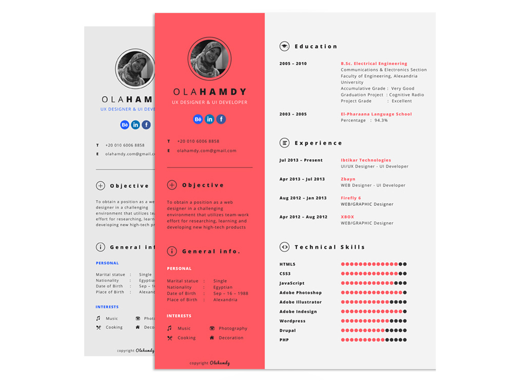 Interactive Resume Template with Clean Design