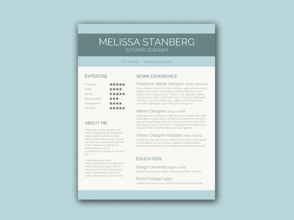 Free Resume Template for Interior Designer