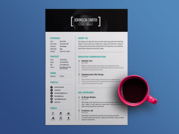 Free Personal CV Template with Cover Letter Design