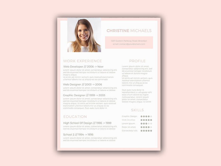 Free Resume Template with Light Colors Scheme
