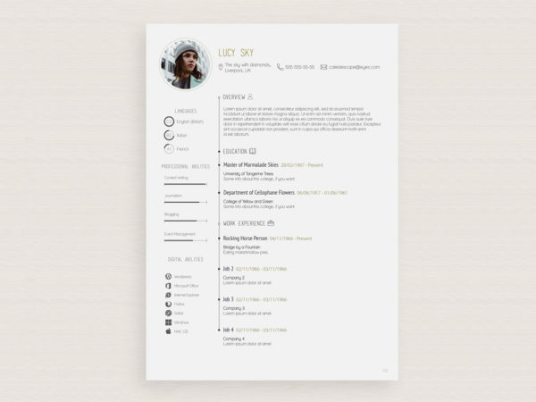 Free Vector Illustrator Resume Template with Simple Design