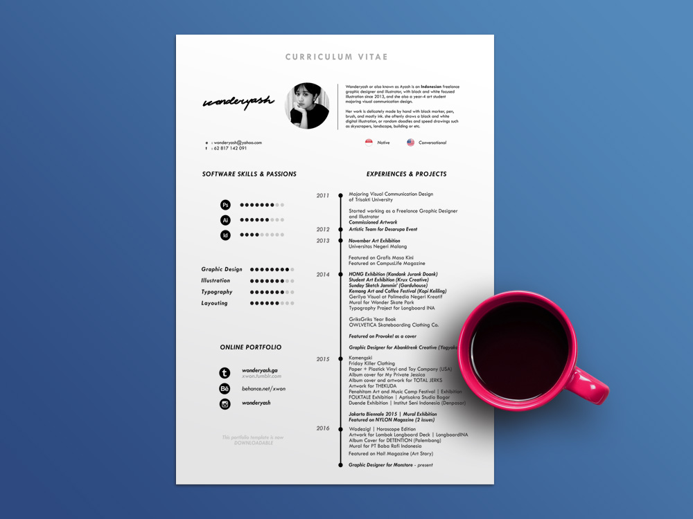 Free Timeline CV Template with Minimalist Design