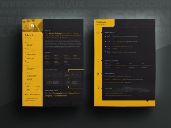 Free Personal Attractive Resume Template with Dark Color