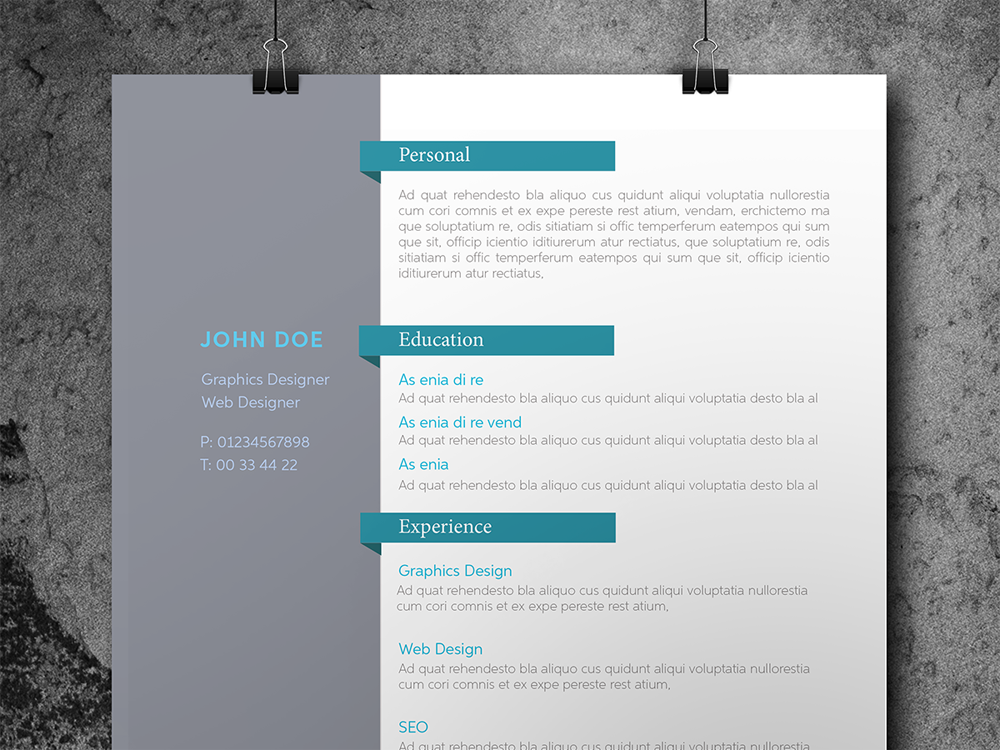 Free Personal Indesign Resume Template