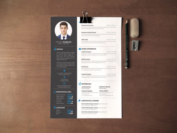 Free Sharp CV Template with Professional Design