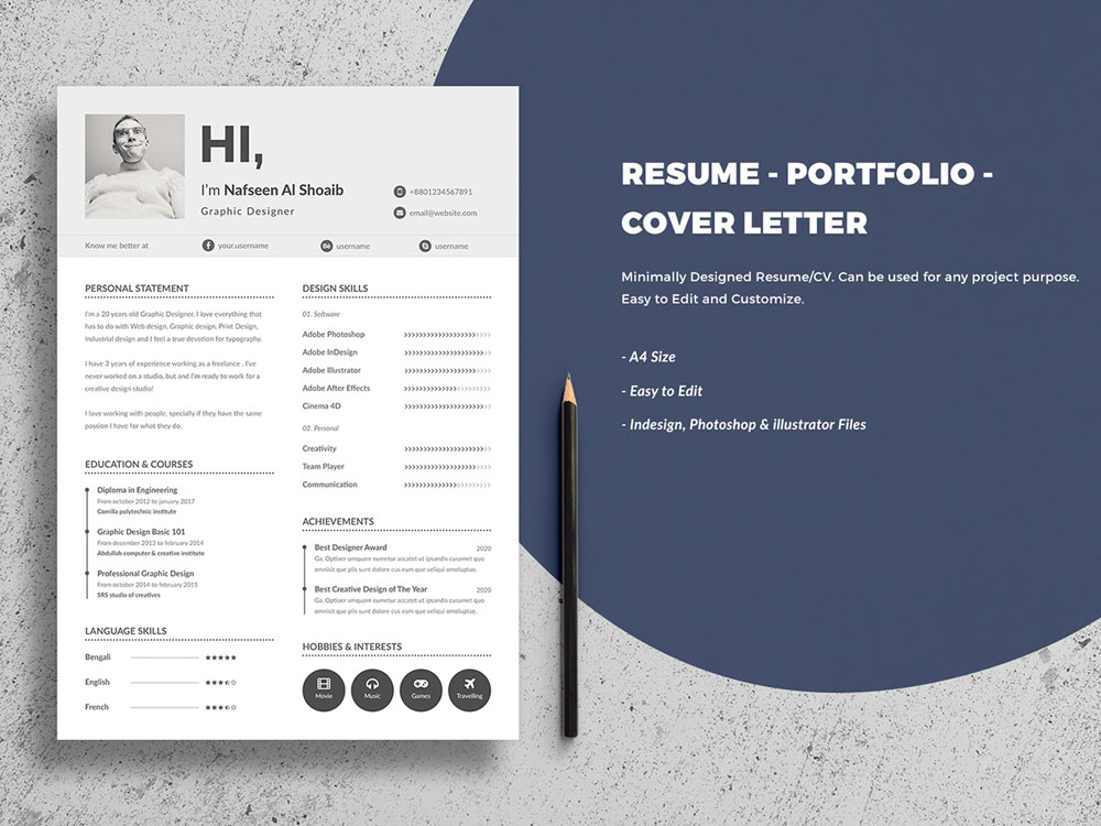 Free Minimal Resume Template with Cover Letter and Portfolio