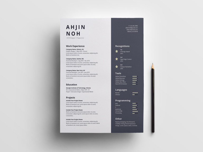 simple indesign resume
