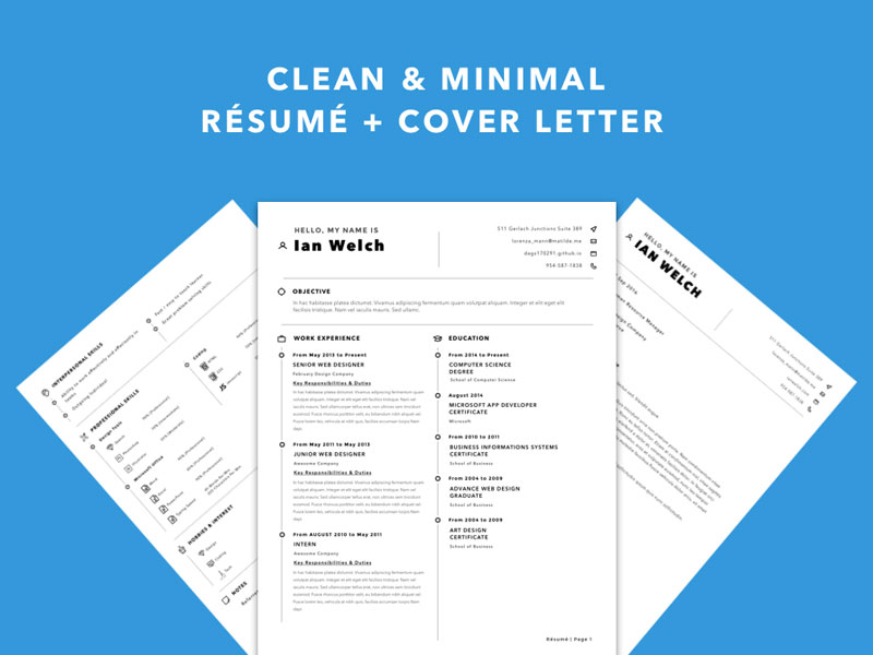 Free Simple Sketch Resume Template with Matching