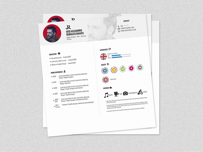 Free Square Resume Template In PSD File Format  Resume File Format