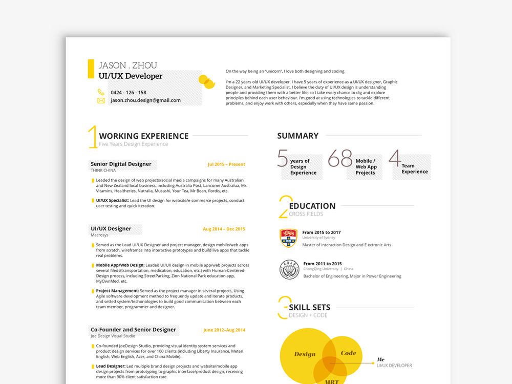 free uiux resume template in sketch file format