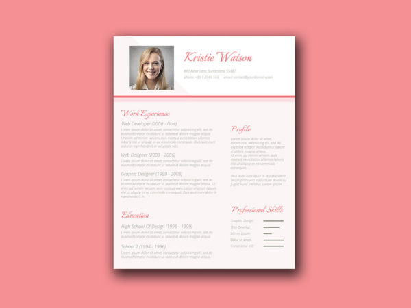 Free Feminine Resume Template for Woman