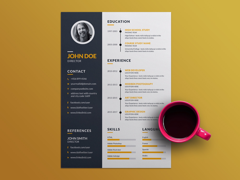 Free Creative Resume Template with Elegant Timeline Design