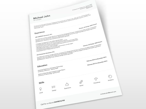 Free Minimalist PSD Resume Template for Job Seeker