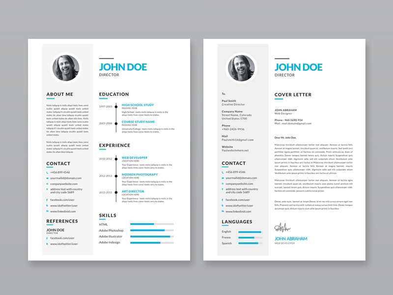 Free simple resume template with portfolio and cover letter altavistaventures Images