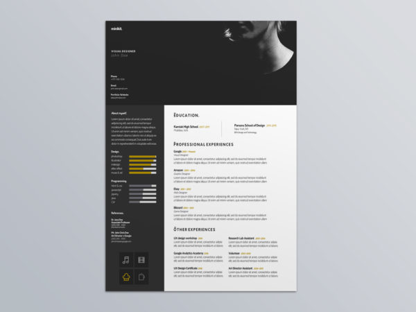 Free Visual Designer Resume Template for Job Seeker