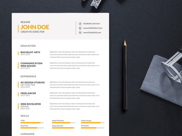 Free Simple Editable Resume Template for Job Seeker