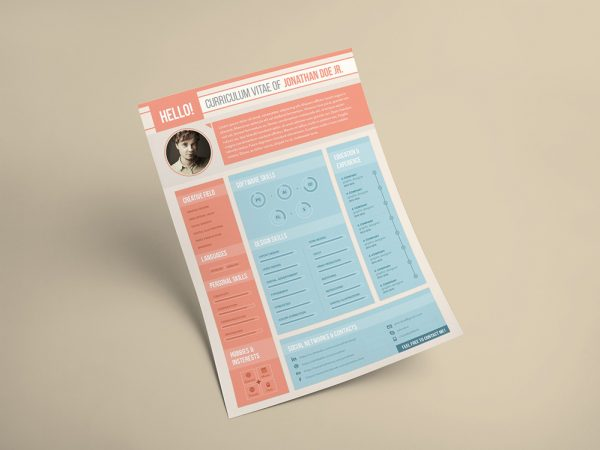 Free Designer Resume Template with Flat Style