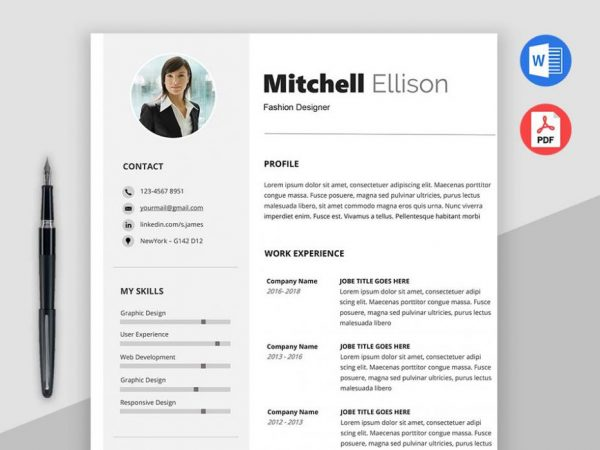 Free Basic Resume Template With Minimal and Clean Design