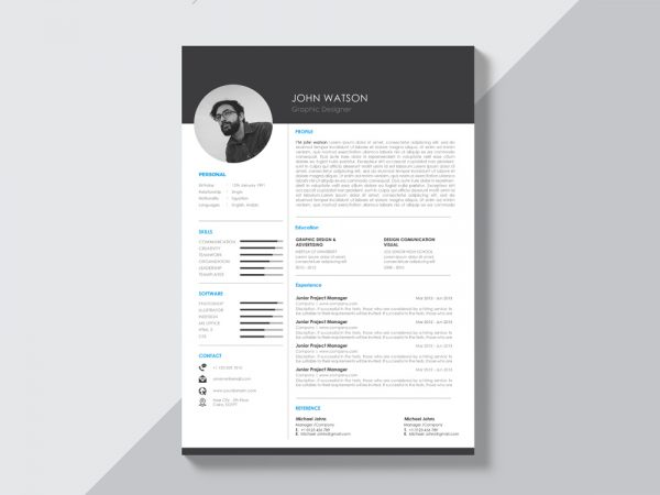 Free Black and White Curriculum Vitae Template with Modern Design