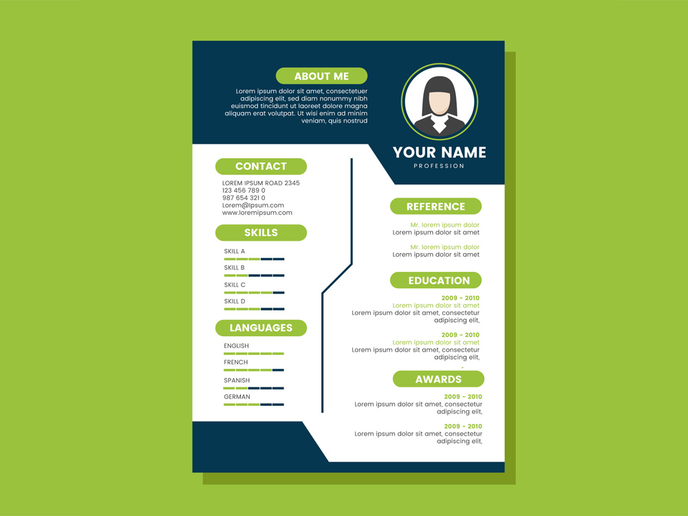 Free CV Template with Blue and Green Colors Combination