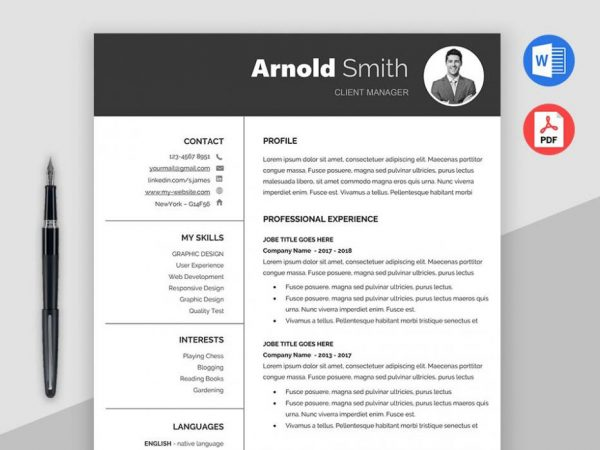Free Classic Resume Template with Formal Design
