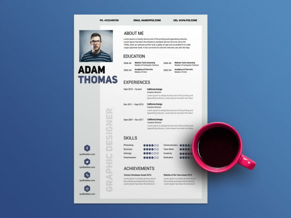 Free Clean Modern Resume Template with Elegant Design