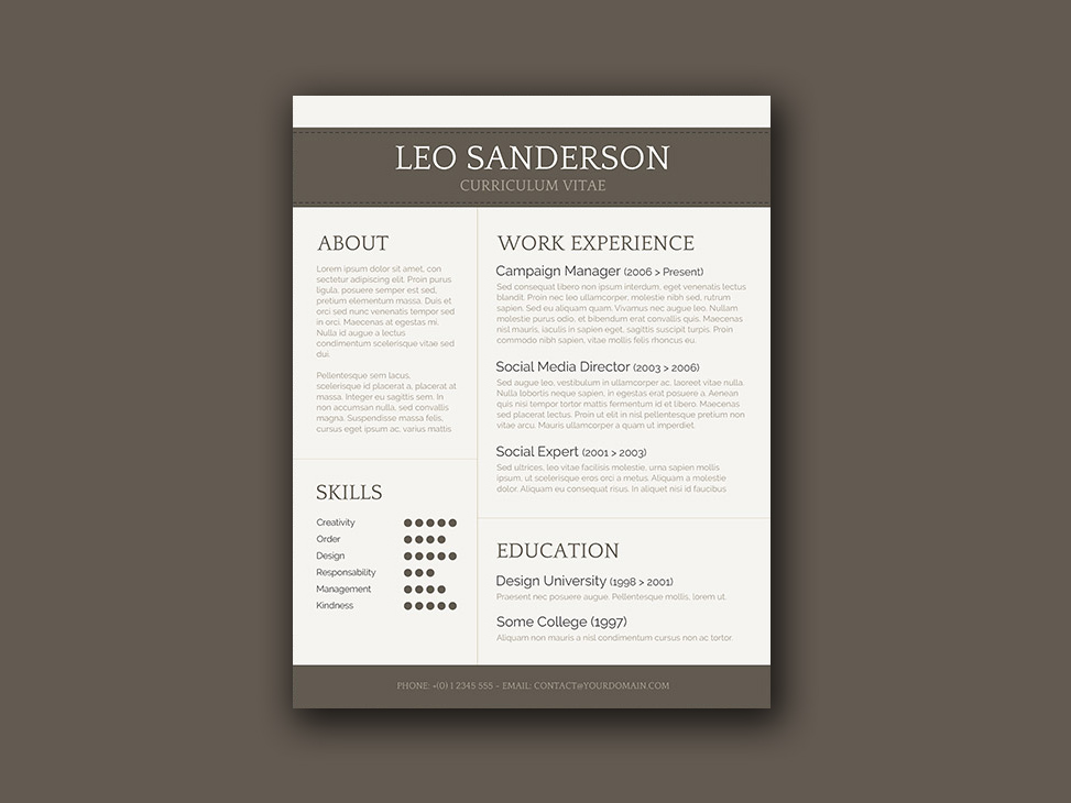free conservative cv template with creative design