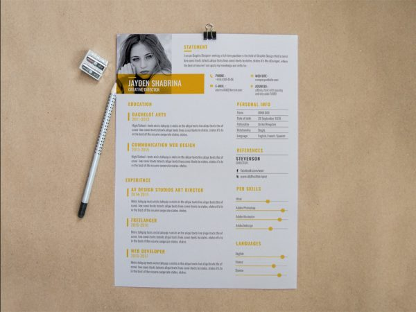 Free Creative Corporate Resume Template for Job Seeker