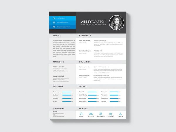 Free Creative PSD Resume Template with Professional Look